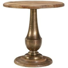 pottery barn round end table gold - Google Search