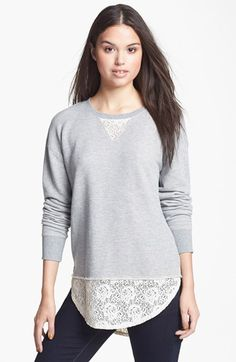 Rubbish® Lace Hem Sweatshirt (Juniors) available at #Nordstrom. Fall is in the air! I just ordered and received this gem..comfy, oversized, and cute sweatshirt
