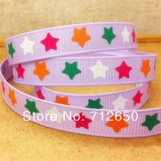 Free shipping 3/8'' (9mm) 4 colors stars imprinted purple color quality grosgrain Ribbon hairbow garment accessory gift package
