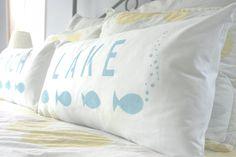Lake Pillow Cover Set Custom Lumbar Bedroom by CariJoyDesigns, $35.00