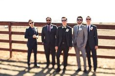 A Whimsical Ranch Wedding that the bride and groom wanted to be fun, quirky, modern and chic all at once! Wedding Pics, Wedding Trends, Wedding Blog, Gift Wedding, Mismatched Groomsmen, Groom And Groomsmen, Groom Outfit, Groom Attire, Dapper Men
