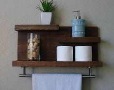 """Plateau rustique moderne de salle de bain 3 niveaux avec 18"""" Satin Nickel finition porte-serviettes"""
