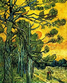 Vincent van Gogh, Pine trees at sunset Another Oil painting of nature. This is what Van Gogh loved. Nature in its own environment, was the epitome of what Van Gogh became famous for. Claude Monet, Vincent Van Gogh, Art Van, Rembrandt, Desenhos Van Gogh, Van Gogh Arte, Van Gogh Pinturas, Georges Seurat, Van Gogh Paintings