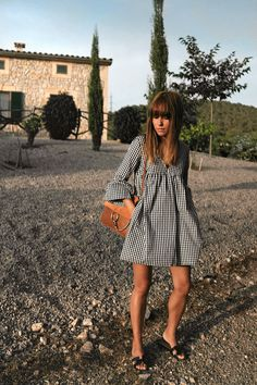 Outfit Vichy print dress at sunset teetharejade Boho Outfits, Spring Outfits, Dress Outfits, Casual Outfits, Fashion Dresses, Cute Outfits, Cute Dresses, Casual Dresses, Summer Dresses