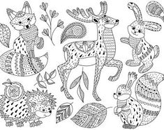 Tribal Animals Clip Art - Vector Animals Clipart, Tribal Clipart, Woodland Clipart, Mandala Clipart, Doodle Animals Clip Art