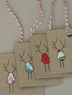 Christmas tags. it is simple but i like printing on card board. the hole in right conner.