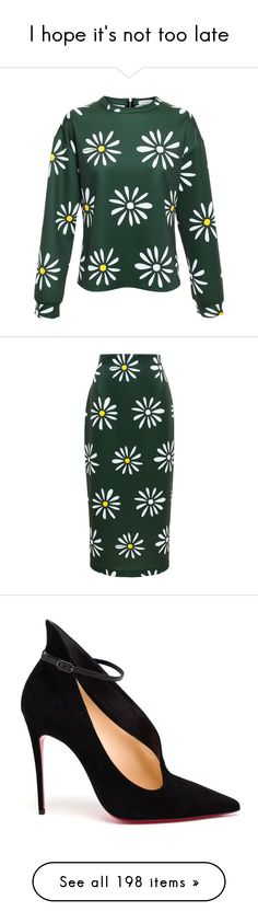"""""""I hope it's not too late"""" by shanelala ❤ liked on Polyvore featuring tops, floral print top, long sleeve tops, daisy top, floral top, relaxed fit tops, skirts, daisy print skirt, flower print skirt and flower print pencil skirt"""