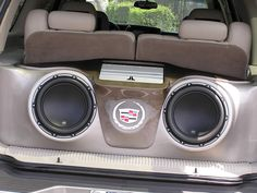 glass speaker systems set up for cars | Fiberglass Custom Sub Box in a Cadillac Escalade featuring JL Audio ...