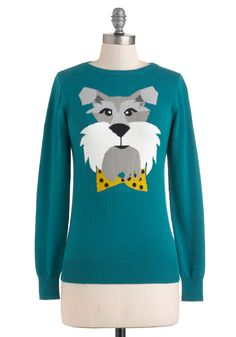 Best in Bow Sweater by Louche - Mid-length, Cotton, Green, Blue, Print with Animals, Long Sleeve, Quirky