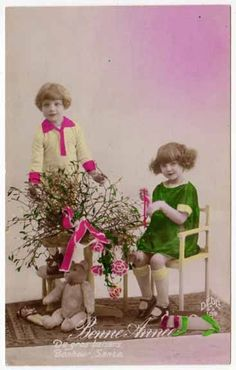 Tinted Real Photo Postcard Boy & Girl with a Teddy Bear New Year