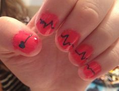 EKG nails I did for my friend when she graduated from nursing school