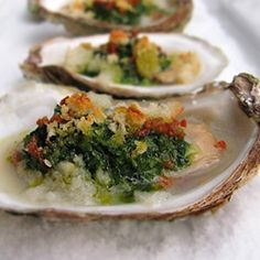 Oysters Rockefeller paired with an elegant Chartreuse Martini
