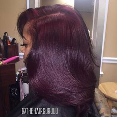 Love this color! Love this color! Wine colored natural hair f Pressed Natural Hair, Dyed Natural Hair, Pelo Natural, Burgundy Natural Hair, Flat Ironed Natural Hair, Colored Natural Hair, Dyed Hair, Natural Hair Weaves, Looks Style