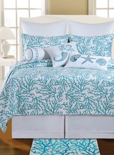 Beach Style Bedroom Ideas - Make your bedroom a relaxing vacation with a beach themed bedroom. Check Out 35 Cool Beach Style Bedroom Design Ideas. Beach Theme Bedding, Beach Bedding Sets, Blue Bedding Sets, Nautical Bedding, Coastal Bedding, Coastal Bedrooms, Coastal Decor, Comforter Sets, Luxury Bedding