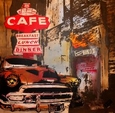 Cuba cafe 90x90 Leinwand Breakfast Lunch Dinner, Pictures, Canvas