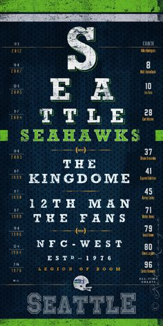 Seattle Seahawks Eye Chart  The 12th Man Club  by RetroLeague, $24.50
