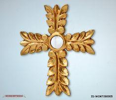 "11.8"" Large Handmade ReligiusGold wooden Crosses - Wall Decor Cross - Decorative Gold leaf Wood cross for wall - Peruvian handicrafts"