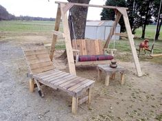 Pallet Outdoor Swing + Lounger + Coffee Table Set