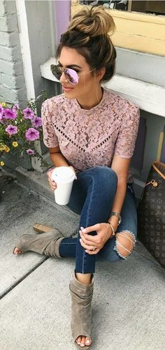 #summer #outfits  Pink Lace Top + Destroyed Skinny Jeans + Grey Open Toe Booties