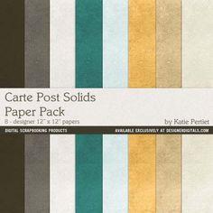 Carte Post Solids Paper Pack- Katie Pertiet Papers- PP180232- DesignerDigitals
