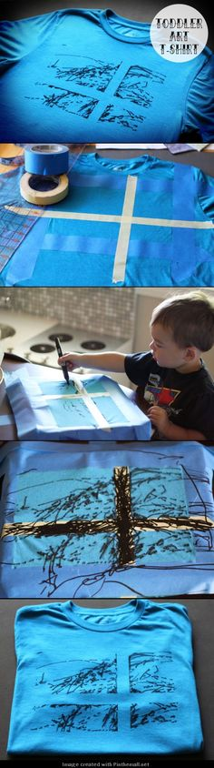 DIY Toddler Art T-Shirt  -  cute idea