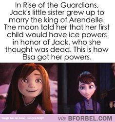 """How Elsa Got Her Powers…well this destroys the whole """"romance of Elsa and Jack Frost"""" pics.... Elsa would be his niece.... Ew. Lol."""