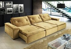 Sofá, assento retrátil, encosto reclinável, marca Di Qualita, modelo Cobalt, comprimento de 2,30 a 3,20, largura 1.20, altura 0,95, cor dourado (veludo), sem massageador, preço R$ 3.523,87