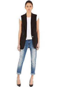 Really liking the touch of luxe that a sleeveless blazer gives at the mo