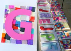 Great craft idea for an art party! Personalized mosaic canvases - from Glorious Treats