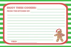 Pinanastasia Lankmiller On Christmas Recipe Cards Cookie Swap In Cookie Exchange Recipe Card Template - Professional Templates Ideas Holiday Cookie Recipes, Holiday Cookies, Holiday Baking, Microsoft Word Free, Printable Recipe Cards, Cookie Swap, Card Templates, Printable Templates, Design Templates