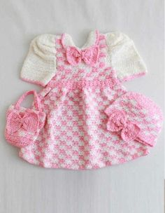 PA985 Madeline Pink Check Outfit- http://www.maggiescrochet.com/madeline-pink-check-outfit-p-1485.html#.UVnO9leNpZ0 #crochet #pattern #dress #hat #purse #outfit #baby #clothes