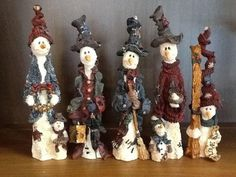$3 EACH....Lot of 5 Boyds Bears & Friends The Folkstone Collection Snowmen Figurines (05/21/2015)