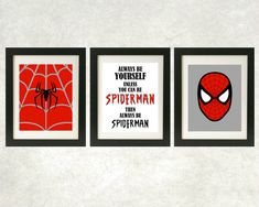 Toujours être imprimés Spiderman / / sticker Spiderman / / Superhero Art / / Superhero Decor / / jeu de 3