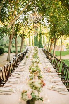 long tables for wedding reception.