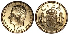 Peseta espanhola (1869-2001)  (x) 100 pesetas (1982-1990) O: efígie de Juan…