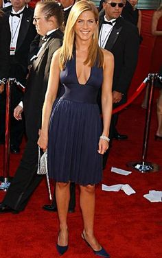 Jennifer Aniston sexy royal blue dress with cleavage and super sweet smile <3
