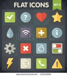 Universal Flat Icons for Web and Mobile Applications Set 3 by Perfect Vectors, via ShutterStock