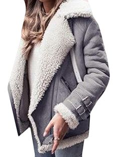 M2MO Womens Winter Short Suede Lamb Wool Coat Shearling Jacket Grey US 2XL ** You can get additional details at the image link. (This is an affiliate link)