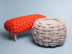 olann knitted wool furniture by claire-anne o'brien | designboom