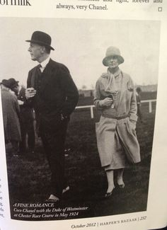 Coco Chanel pictured at Chester races with the Duke of Westminster in May 1924, courtesy of Harpers Bazaar