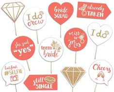Bridal Shower Printable Photo Booth Props - Coral Gold and White - 12 Hand Painted Signs - Bachelorette Hen Party by brighterprints on Etsy Bridal Shower Props, Bridal Shower Decorations, Bride Shower, Painted Letters, Hand Painted Signs, Pre Wedding Party, Wedding Stuff, Wedding Ideas, Photobooth Props Printable