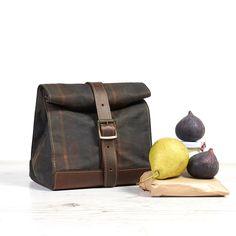 Tartan waxed cotton lunch bag. School Lunch box.