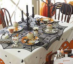 Halloween Decor. Spider Web Tablecloth :: Pumpkin Tablecloth | Pottery Barn Kids