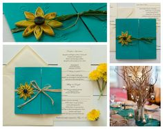Turquoise wedding invitation with quilled sunflower for rustic wedding themes Wedding Themes, Wedding Colors, Wedding Decorations, Wedding Ideas, Sunflower Weddings, Sunflower Wedding Invitations, Teal, Turquoise, Rustic Weddings