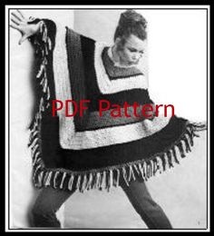 Hippie Poncho Boho Vintage Crochet Pattern by BubbleGumInTheMail, $2.50