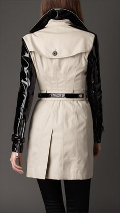 Burberry London womens patent sleeve trench coat 2