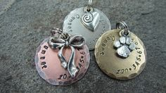 Pet Tag - Pet ID Tag - Dog Tag with Bow/Ribbon, Heart or Paw Print Charm in Nickel, Copper or Brass on Etsy, $9.00
