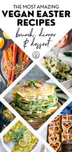 46 Healthy Vegan Easter Recipes (Breakfast to Dinner) Looking for easy and healthy Easter recipes? These vegan brunch, breakfast, appetizer and dinner ideas are perfect for kids and even for a crowd! Easter Breakfast Recipes, Easter Dinner Recipes, Easter Recipes Vegan, Vegan Brunch Recipes, Vegan Recipes For Kids, Make Ahead Brunch Recipes, Vegan Menu, Pancake Recipes, Sweet Breakfast