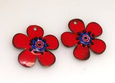 Sale - Red enamel flower copper charm,Copper #supplies @EtsyMktgTool #earringcharms #jewelrycomponents #earringfindings #earringsbeads