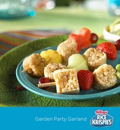 Such a simple Easter snack the kids can help make – mini Rice Krispies Treats™ and fruit kabobs!